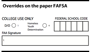 Overrides on the paper FAFSA